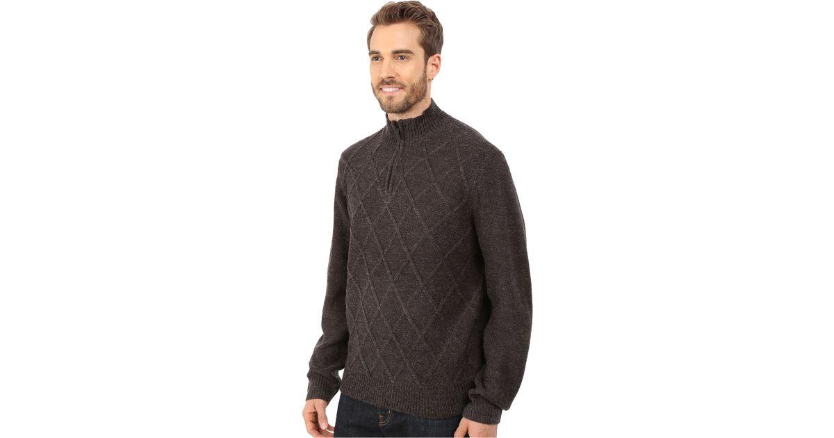 7ffc41585e Lyst - Perry Ellis Diamond Stitch Quarter Zip Sweater in Gray for Men
