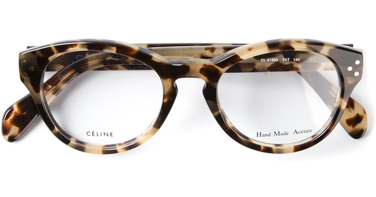 0cc515d4599b Lyst - Céline Leopard Print Optical Glasses in Brown
