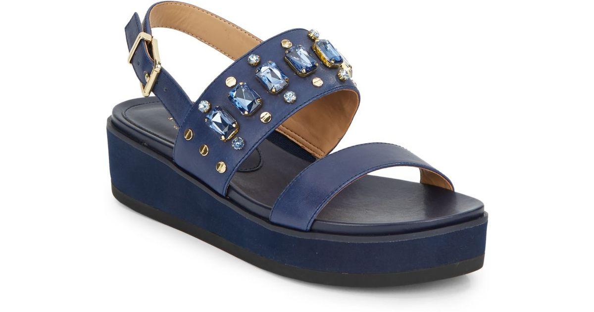 4307b340236624 Lyst - Isaac Mizrahi New York Bling Jewel-Detail Platform Wedge Leather  Sandals in Blue