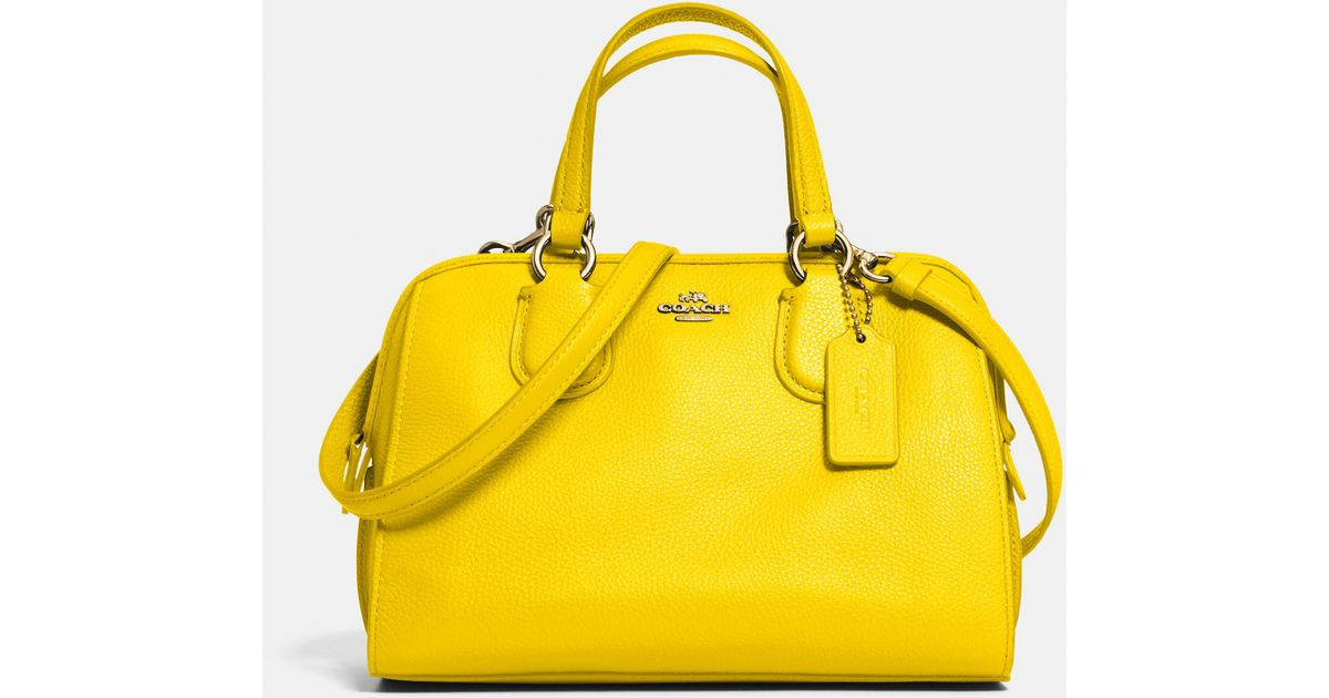 e03e1ce8003 ... handbag dfc77 031e4 sale lyst coach mini nolita satchel in leather in  yellow 3ec3f d71a2 ...