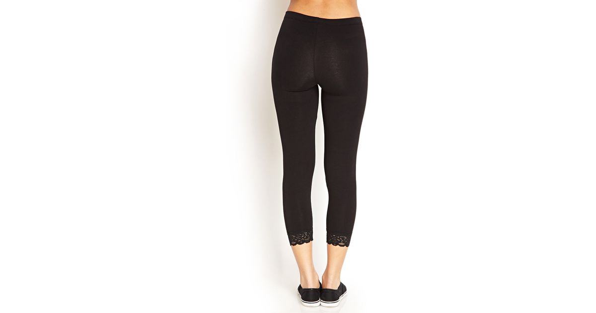 Forever 21 Lace-trimmed Capri Leggings in Black | Lyst
