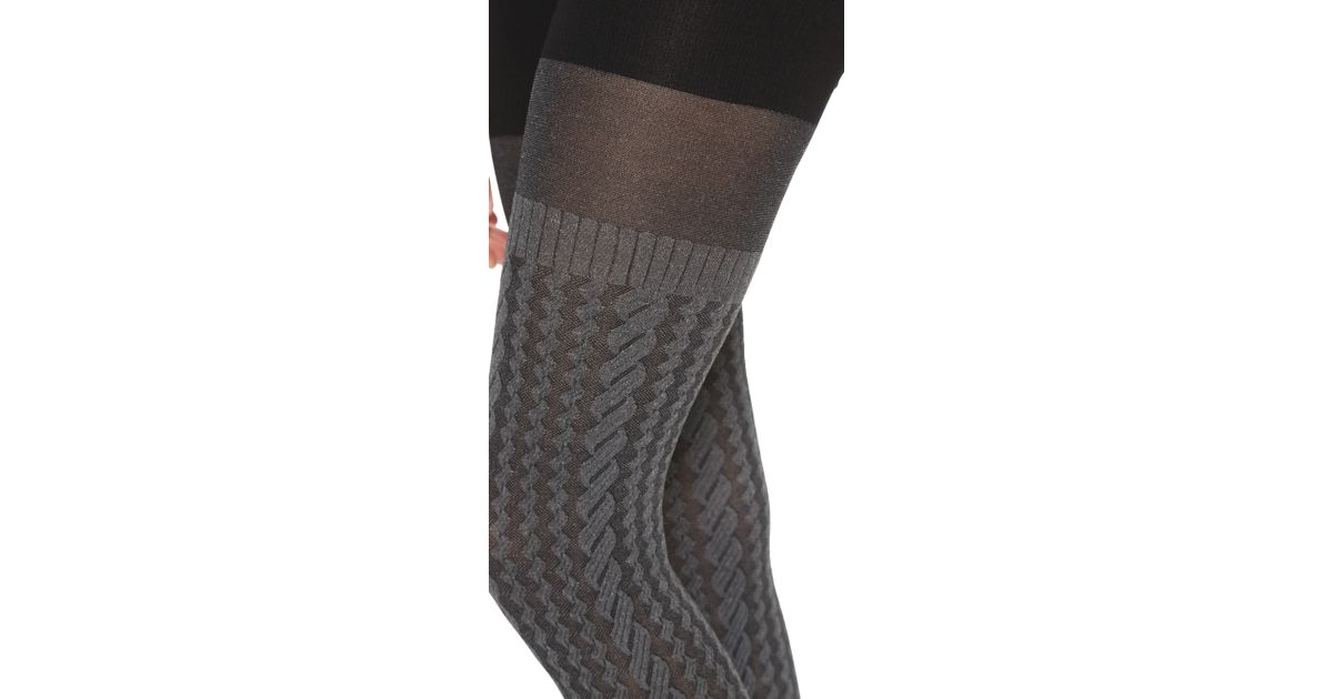 641c5956765ce Spanx Cable Knit Tights - Sweater Grey in Gray - Lyst