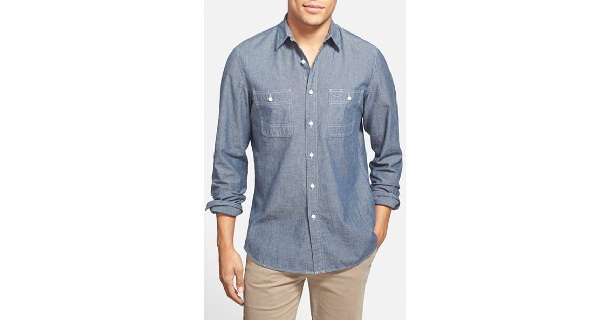0c624e455ee Lyst - Wallin   Bros.  workwear  Trim Fit Chambray Sport Shirt in Blue for  Men