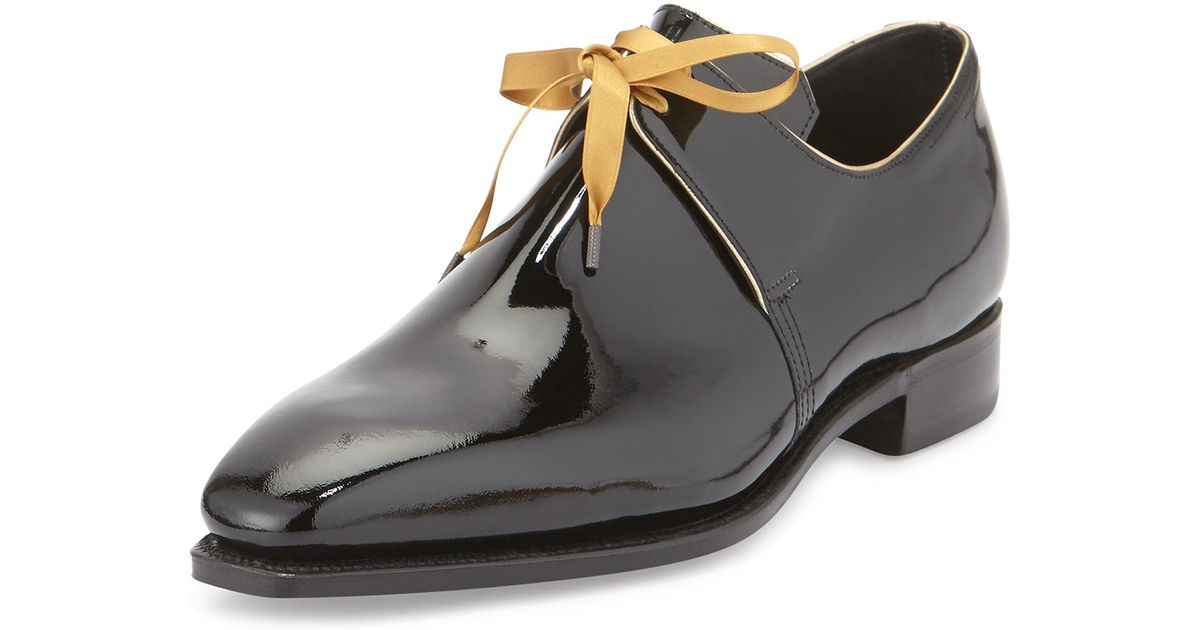 911ed0d67a5 Lyst - Corthay Arca Patent Leather Derby Shoe With Gold Piping in Black for  Men