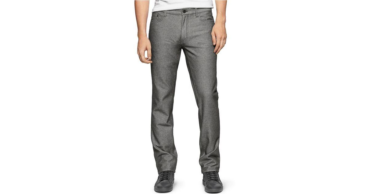calvin klein jeans slim straight pants in black for men lyst. Black Bedroom Furniture Sets. Home Design Ideas