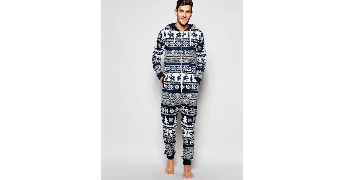Lyst - Asos Loungewear Onesie With Reindeer Fair Isle Print in ...