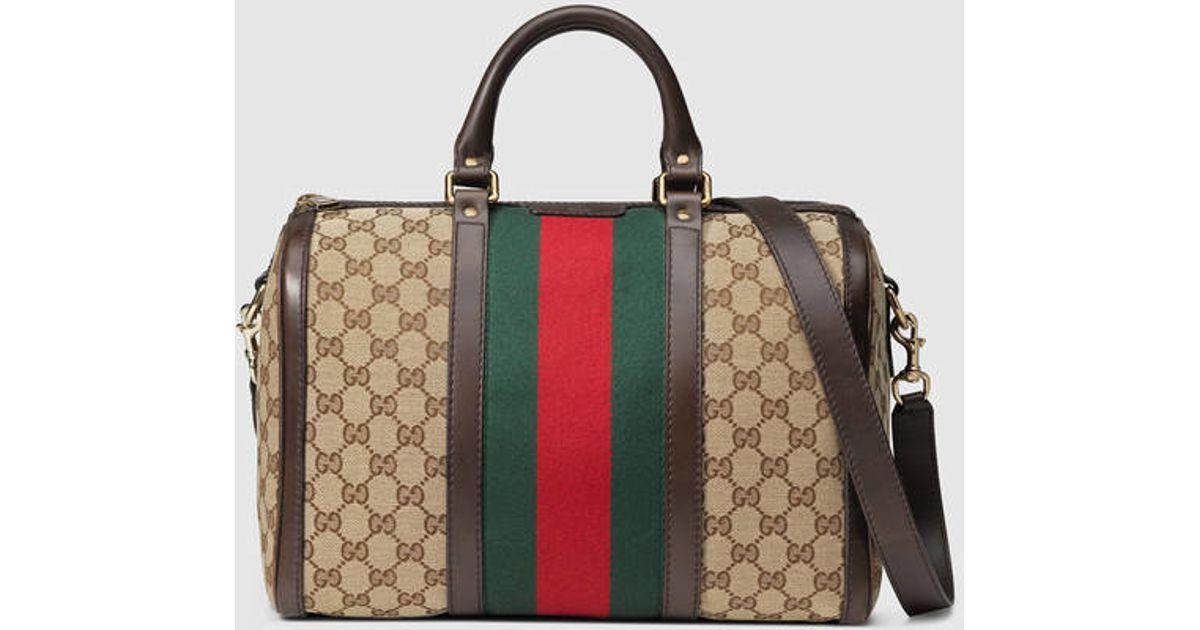 c6a1b50ca57f Lyst - Gucci Vintage Web Original Gg Boston Bag in Natural for Men