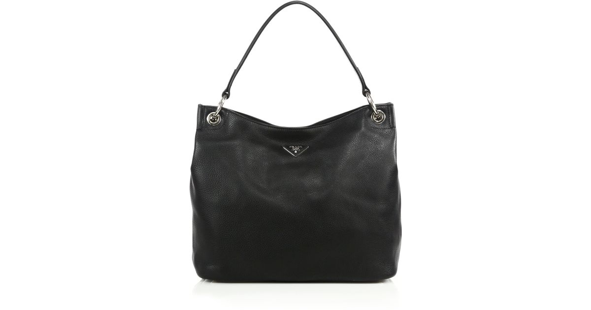 black leather prada - Prada Daino Hobo Bag in Black (nero) | Lyst