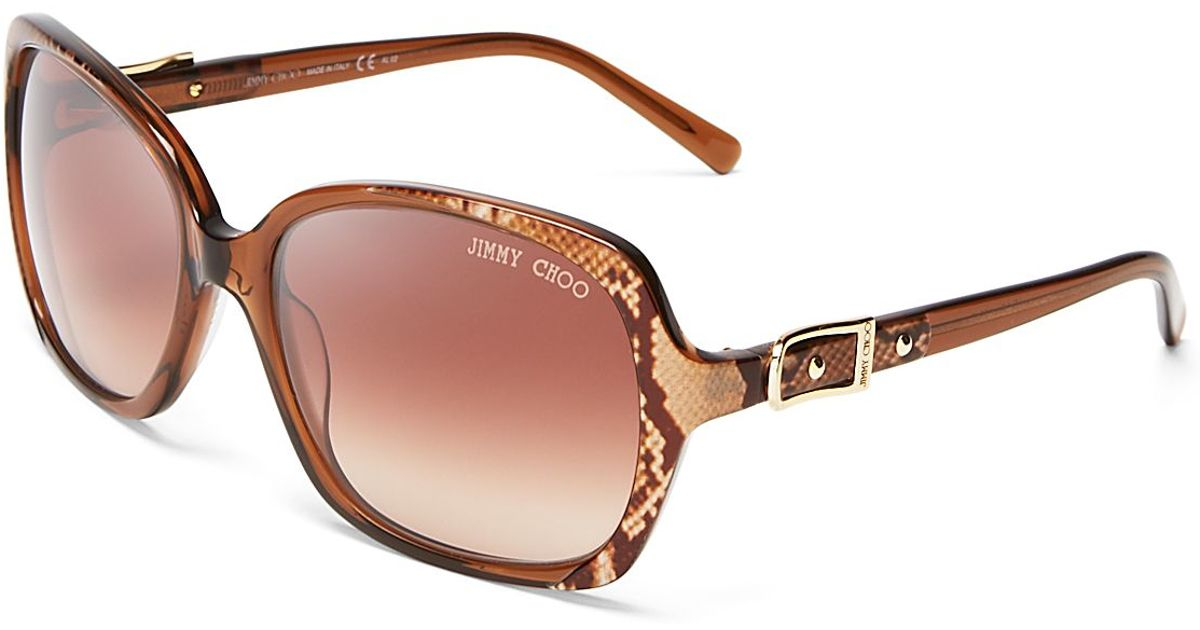 Buckle Sunglasses  jimmy choo oversized sunglasses 60mm in brown lyst