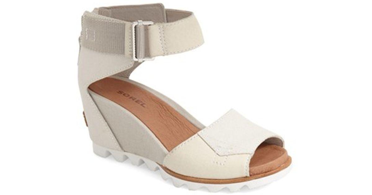 291e34f3e3e Lyst - Sorel  joanie  Wedge Sandal in White