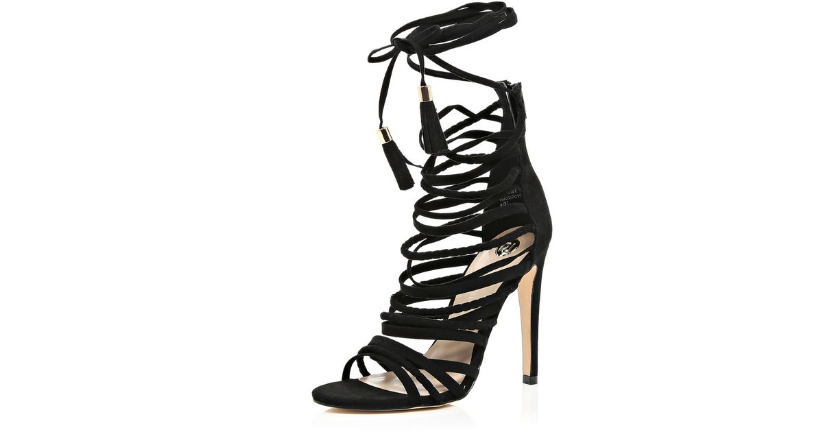 a47a5f8ee7fd River Island Black Suede Caged Strappy Heeled Sandals in Black - Lyst