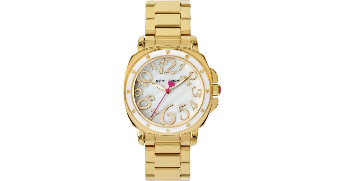70bd3263b3b8 Lyst - Betsey Johnson Women s Gold-tone Stainless Steel Bracelet Watch 39mm  Bj00202-02 in Metallic