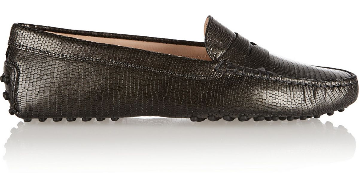 Tod's Gommino Textured-leather Loafers - Gray Fast Delivery Cheap Price Good Selling fSJQQO7z4h
