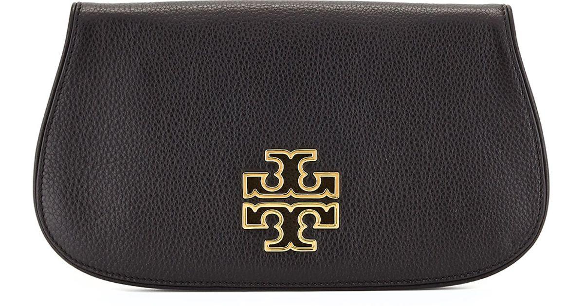 87c1e702af34 Tory Burch - Black Britten Leather Flap Clutch Bag - Lyst