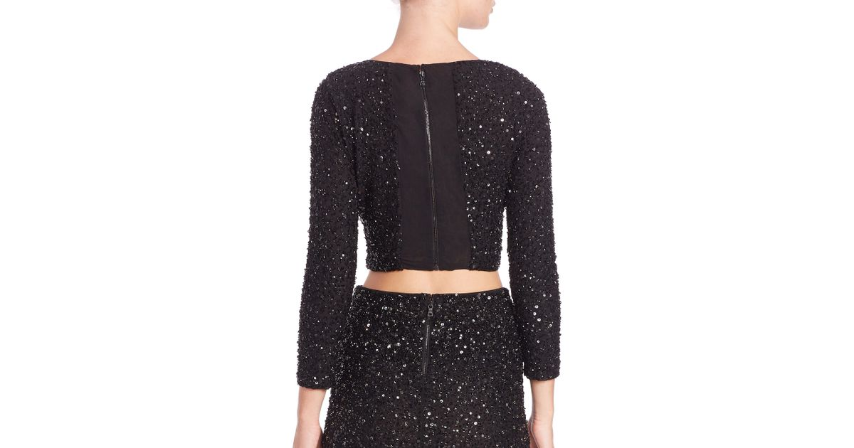 56b9f93a849e7c Lyst - Alice + Olivia Lacey Beaded Crop Top in Black