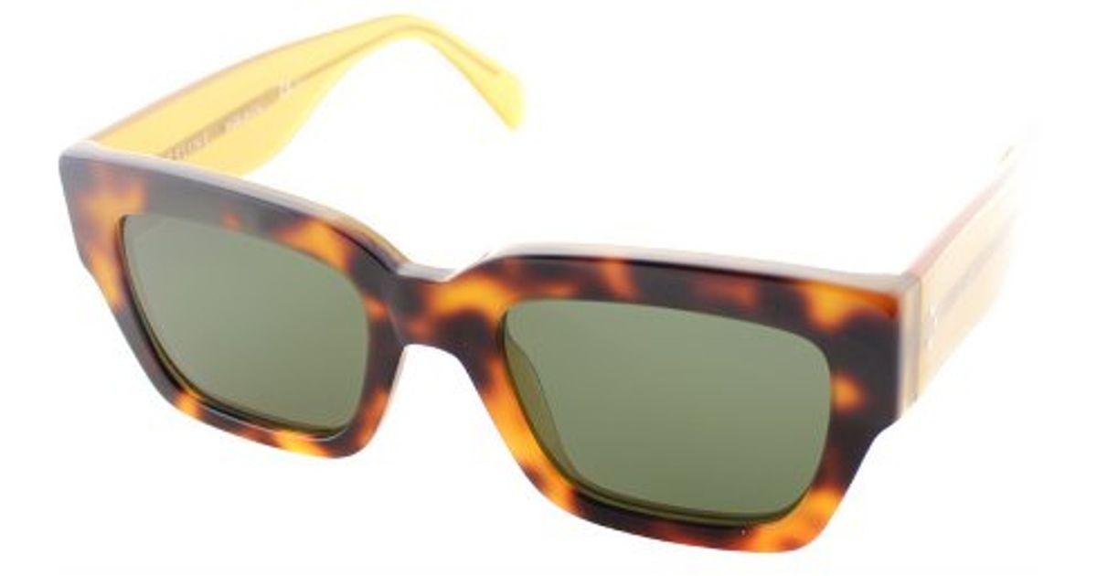 6b9245466c6f Lyst - Céline Cl 41078 s J1m Havana Honey Square Plastic Sunglasses Green  Lens in Brown