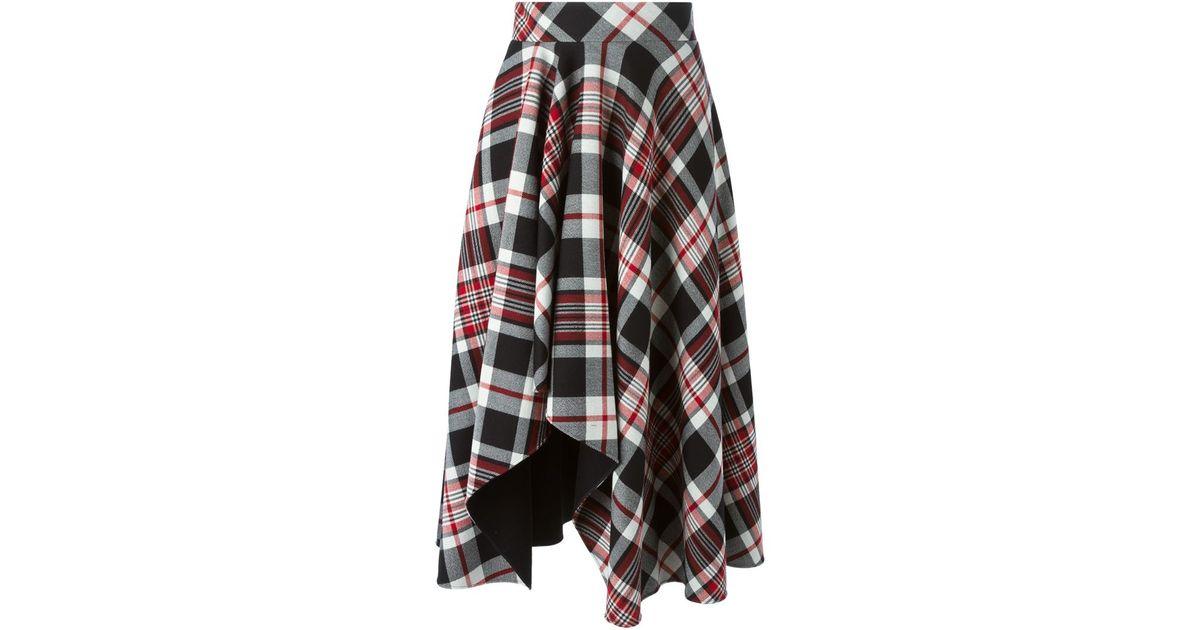 9010abbb76 Lyst - Alexander Mcqueen Tartan Asymmetric Draped Skirt in Black