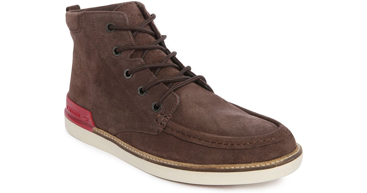 lacoste zinder srm brown suede boots in brown for men lyst