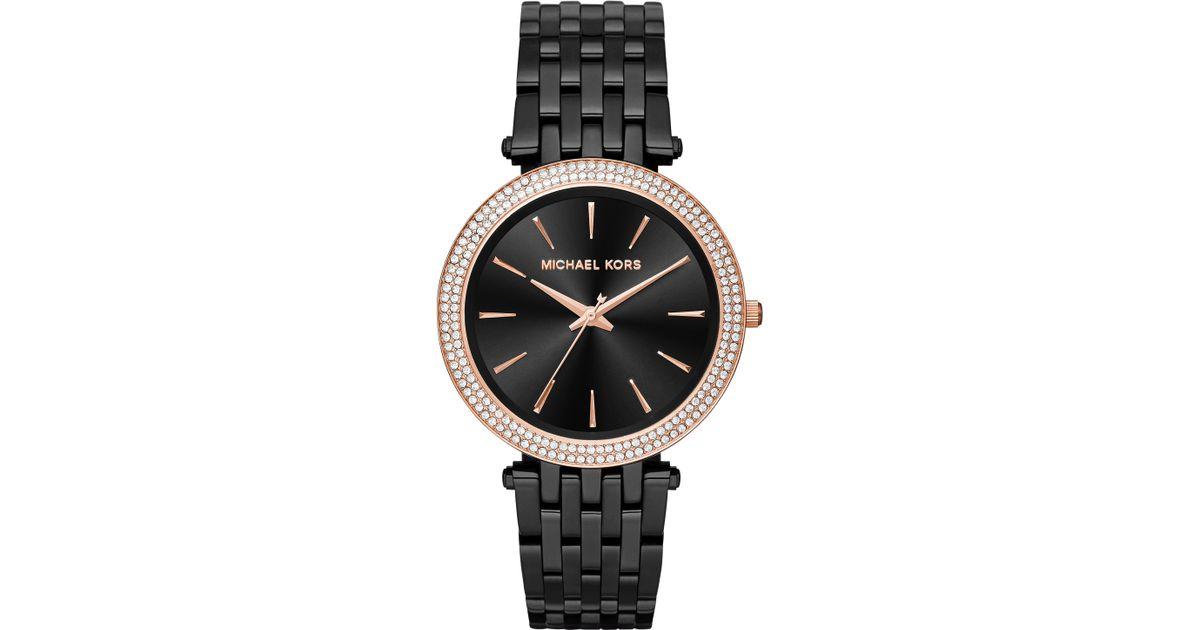 Lyst - Michael Kors Darci Pavé Black Ip Stainless Steel Bracelet Watch in  Pink 03a47d46daf6