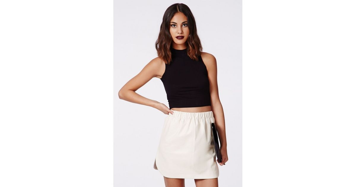 Missguided Abi Curve Hem Faux Leather Skirt White in White | Lyst