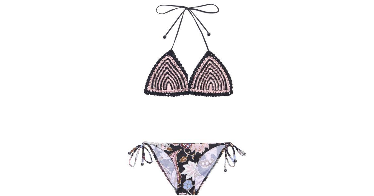 d4c28887636 Zimmermann Henna Crochet And Printed Bikini in Black - Lyst