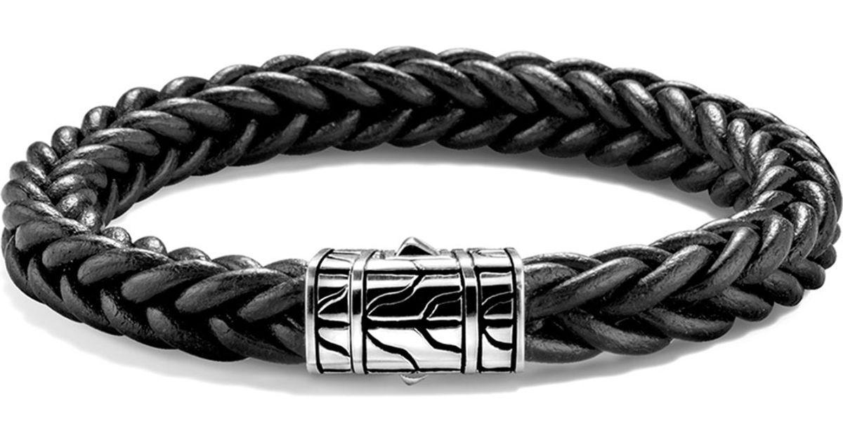 Lyst John Hardy Mens Classic Chain Braided Leather Bracelet In Black