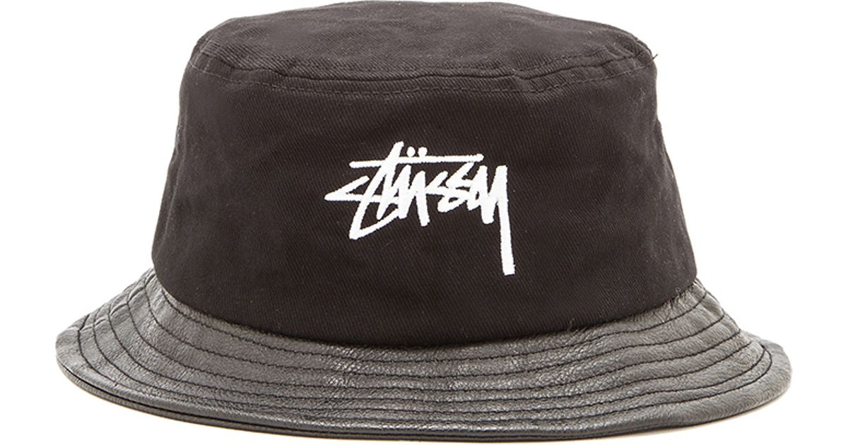 Lyst - Stussy Stock Leather Brim Bucket Hat in Black for Men ad307cd0ad29