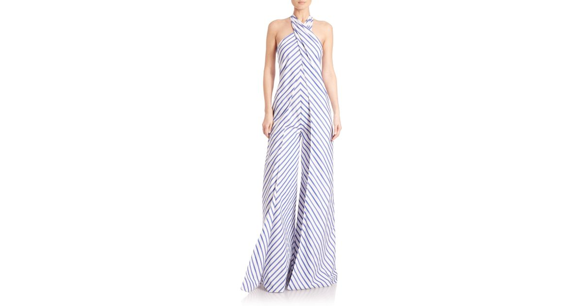 8d320be2 Ralph Lauren Collection Adelaide Striped Wide-leg Halter Jumpsuit in Blue -  Lyst