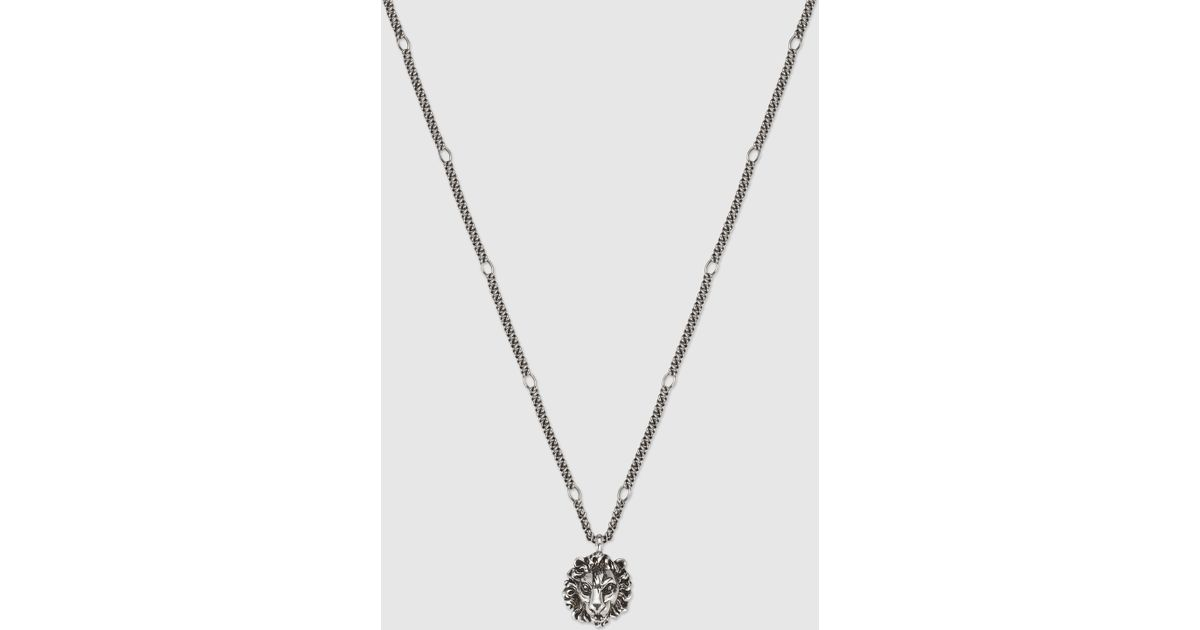3a651577f23e55 Gucci Necklace With Lion Head Pendant in Metallic for Men - Lyst
