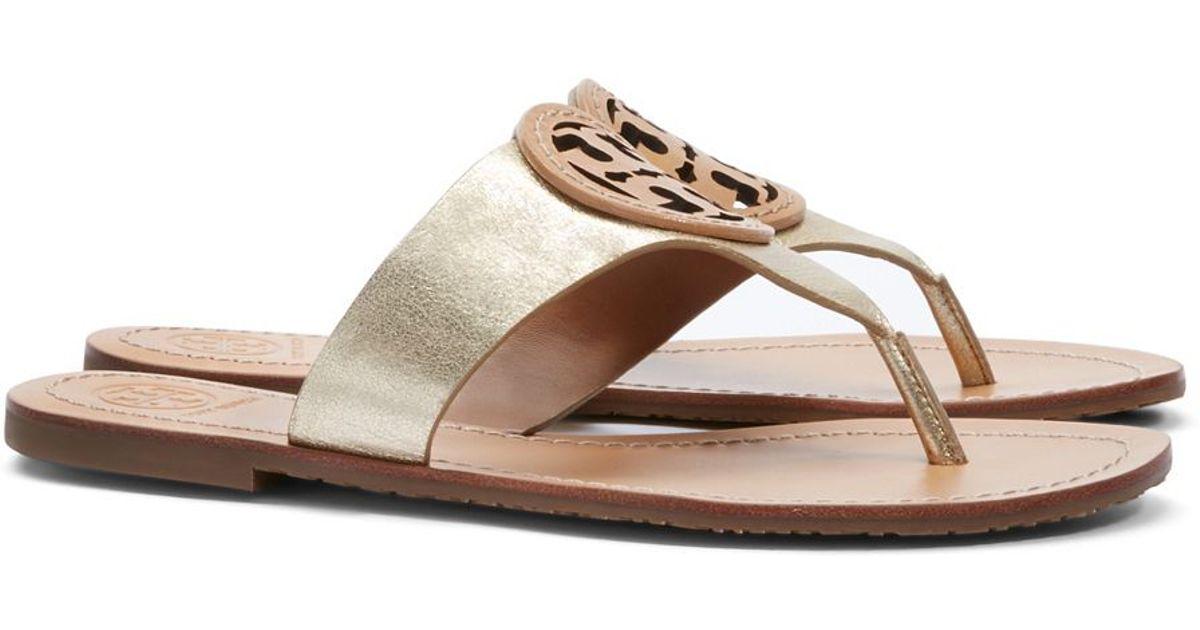 - Tory Burch Louisa Flat Thong Sandal In Metallic Lyst