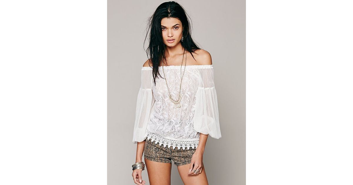 Lyst Free People Lace Banded Bottom Blouse In White