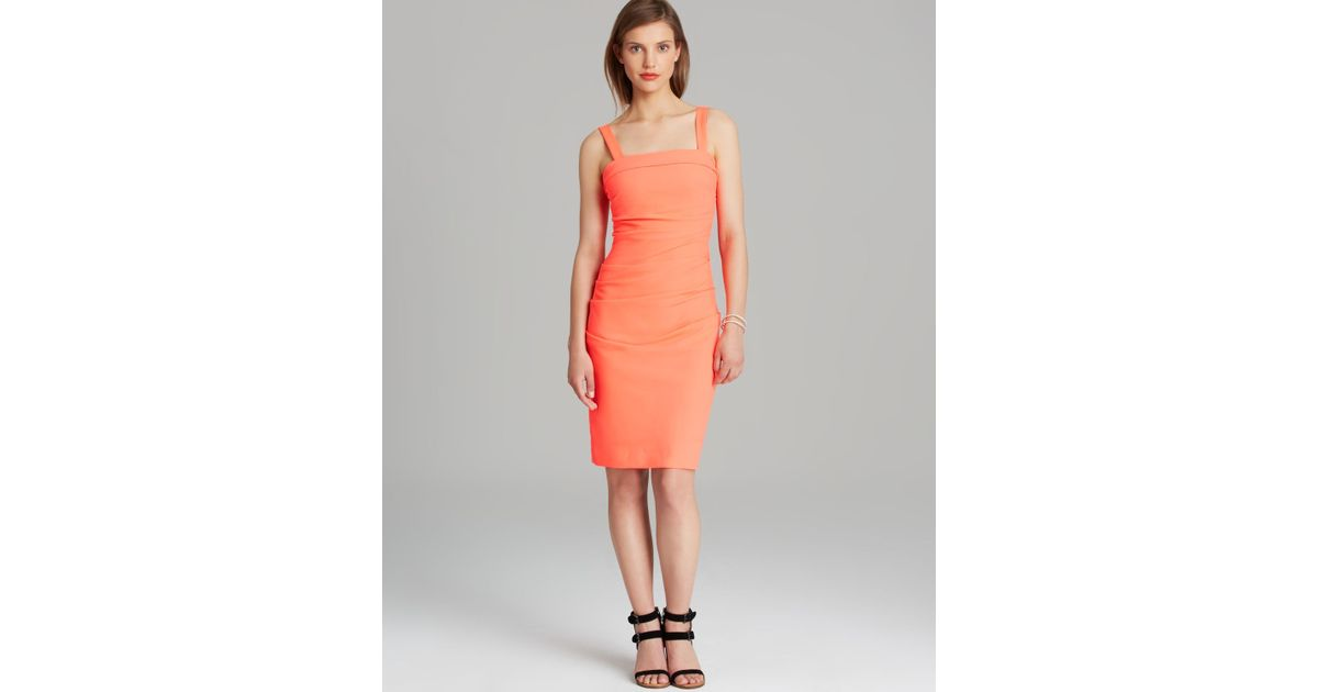 349732cba56 Shoshanna Dress - Techno Crepe Trilby Sleeveless Square Neck Sheath in  Orange - Lyst