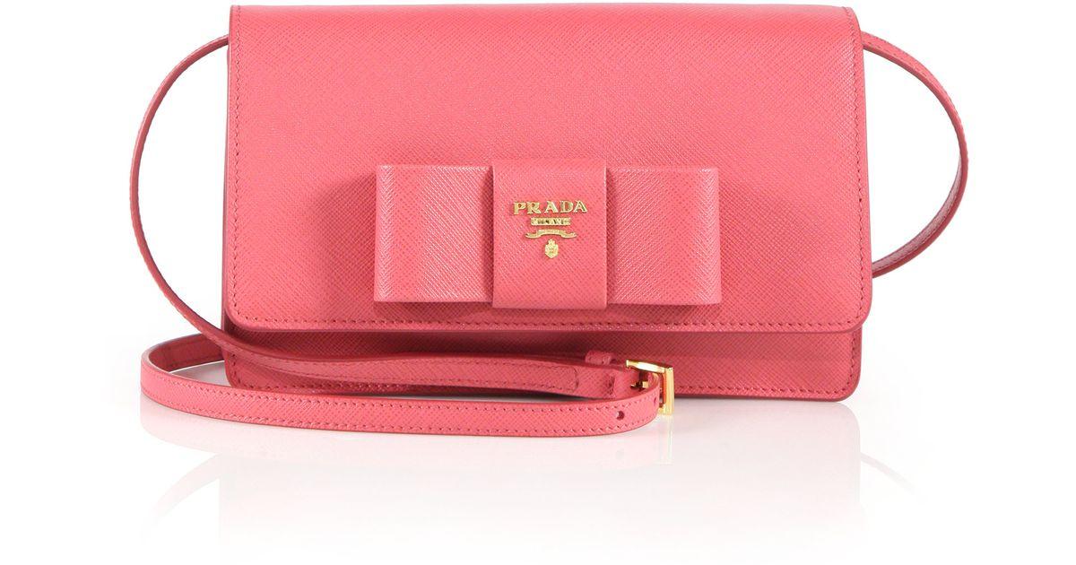 Prada Saffiano Lux Bow Crossbody Bag in Pink (PEONIA-PINK) | Lyst