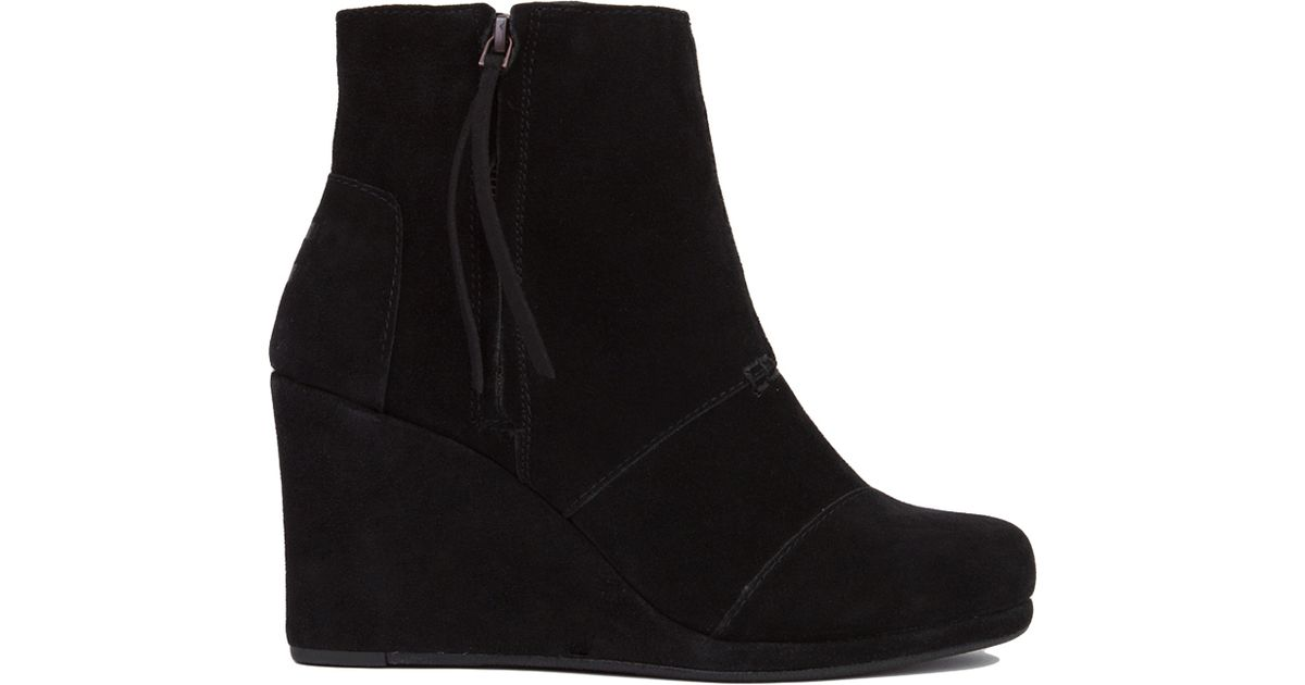 9b64dc421d3 Lyst - TOMS Desert Wedge High Ankle Boots - Black Suede in Black