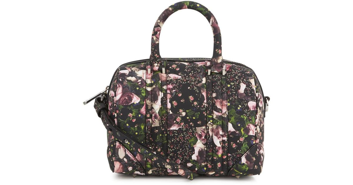 7c7a3d0f56 Givenchy Lucrezia Black and Pink Floral Print Leather Tote in Black - Lyst