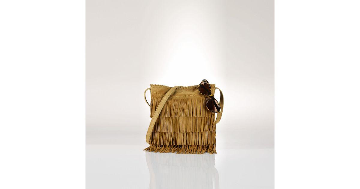 0b32a12c69 Polo Ralph Lauren Suede Cross-Body Bag in Brown - Lyst