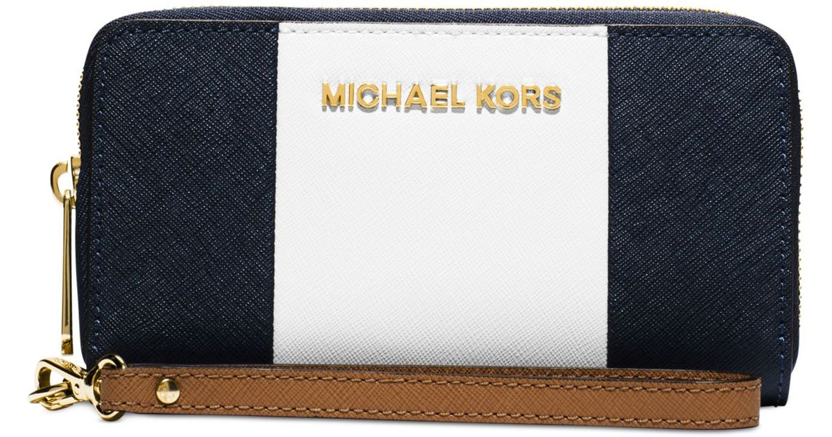 04ae1c380283 Lyst - Michael Kors Michael Jet Set Travel Center Stripe Large Coin  Multifunction Wallet in Blue