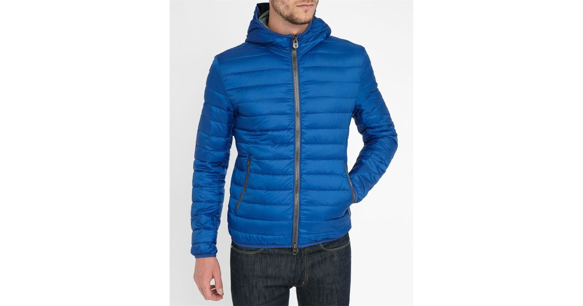 Colmar royal blue light 1277 hooded down jacket in blue for Blue piscine colmar