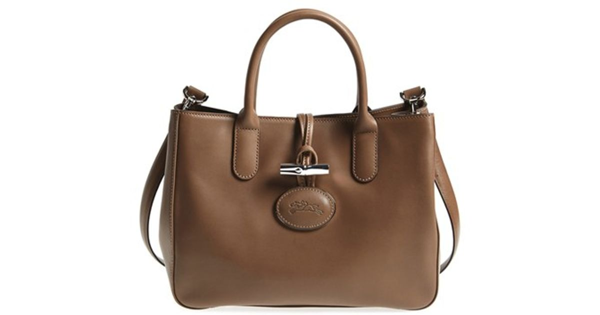 Lyst - Longchamp  roseau Heritage  Leather Tote in Brown f0a0d09d0ce03