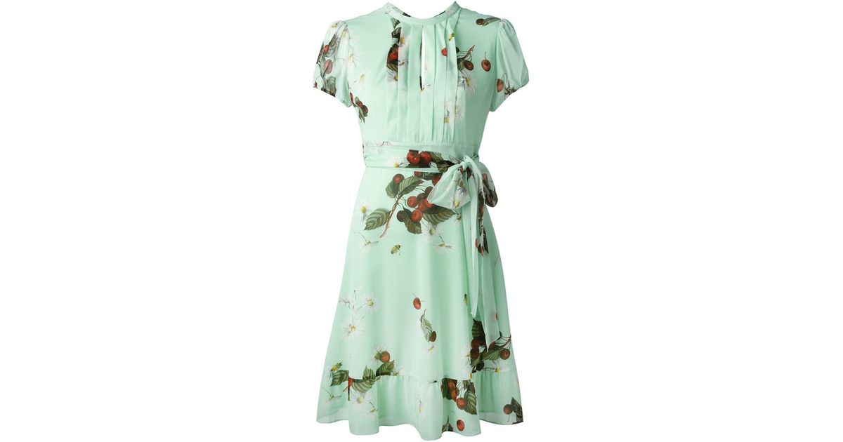 Lyst - Red Valentino Daisy And Cherry Print Dress in Green