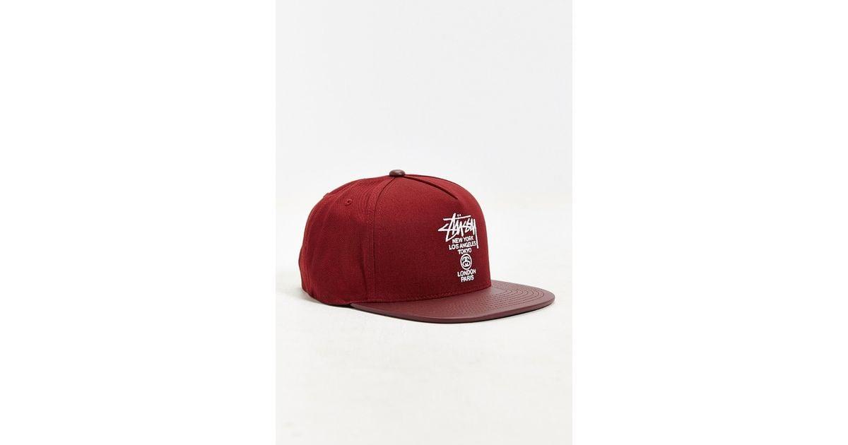 e2265341e5d Lyst - Stussy World Tour Snapback Hat in Red for Men