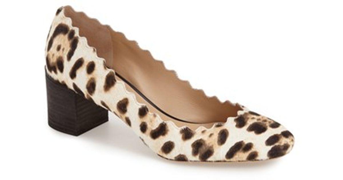 a271960d9da Lyst - Chloé Scalloped Leopard Print Calf Hair Pump