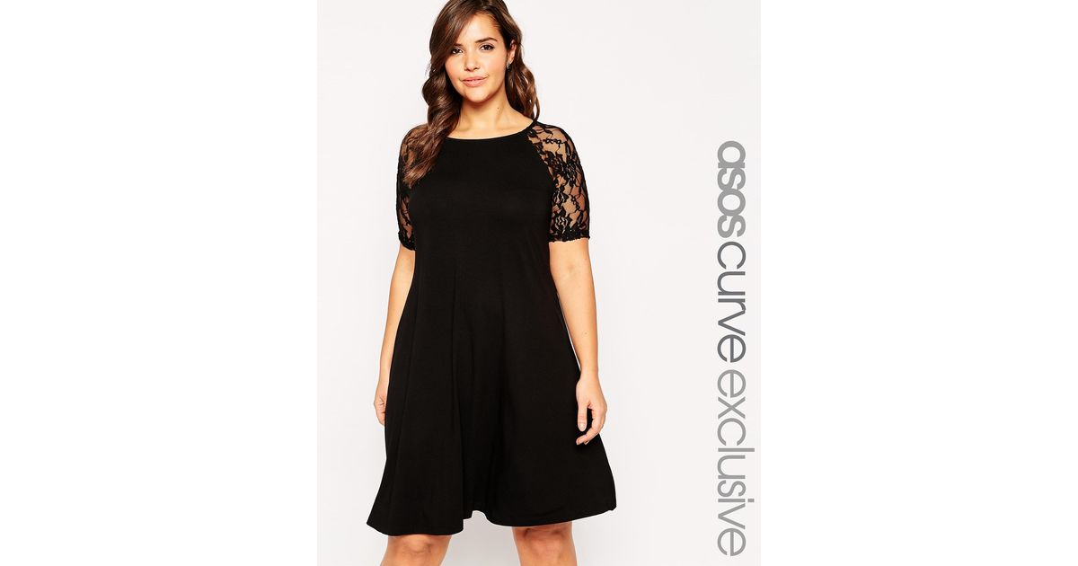 Lyst Asos Swing Dress With Lace Raglan Short Sleeves In Black