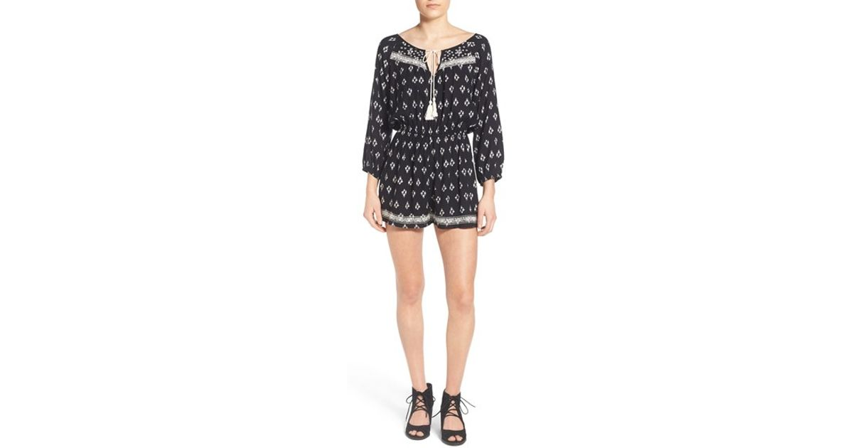 1e14d4114c75 Lyst - Band Of Gypsies Embroidered Romper in Black