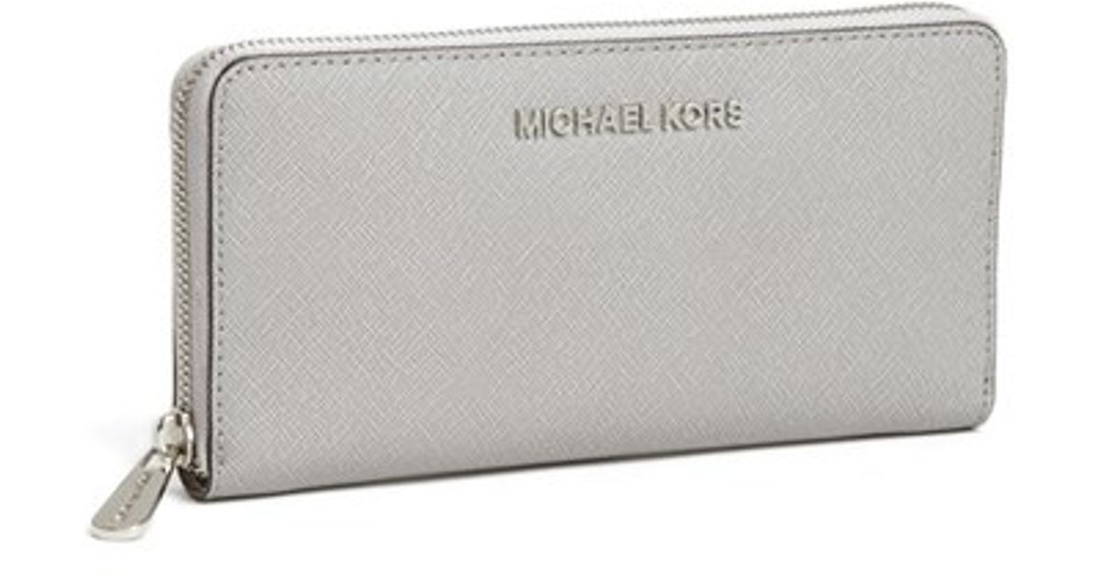 2359fba2c0c7 ... shopping lyst michael michael kors jet set zip around continental wallet  in gray dd4ae b0e60
