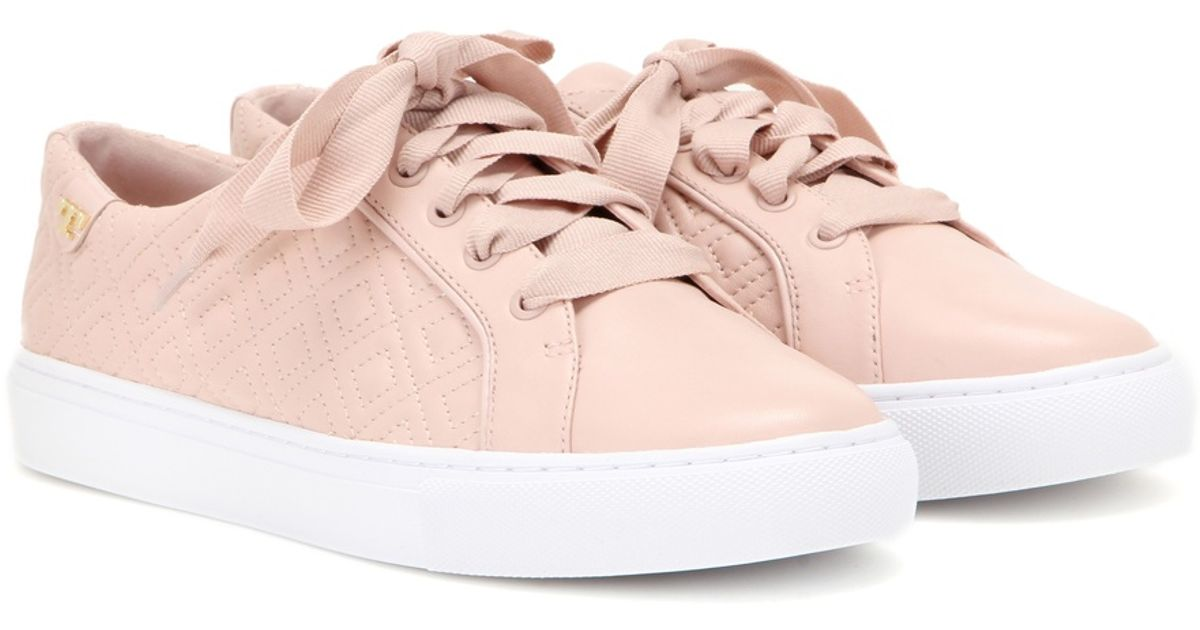 7d993c4a9e4 Lyst - Tory Burch Marion Quilted Leather Sneakers in Pink