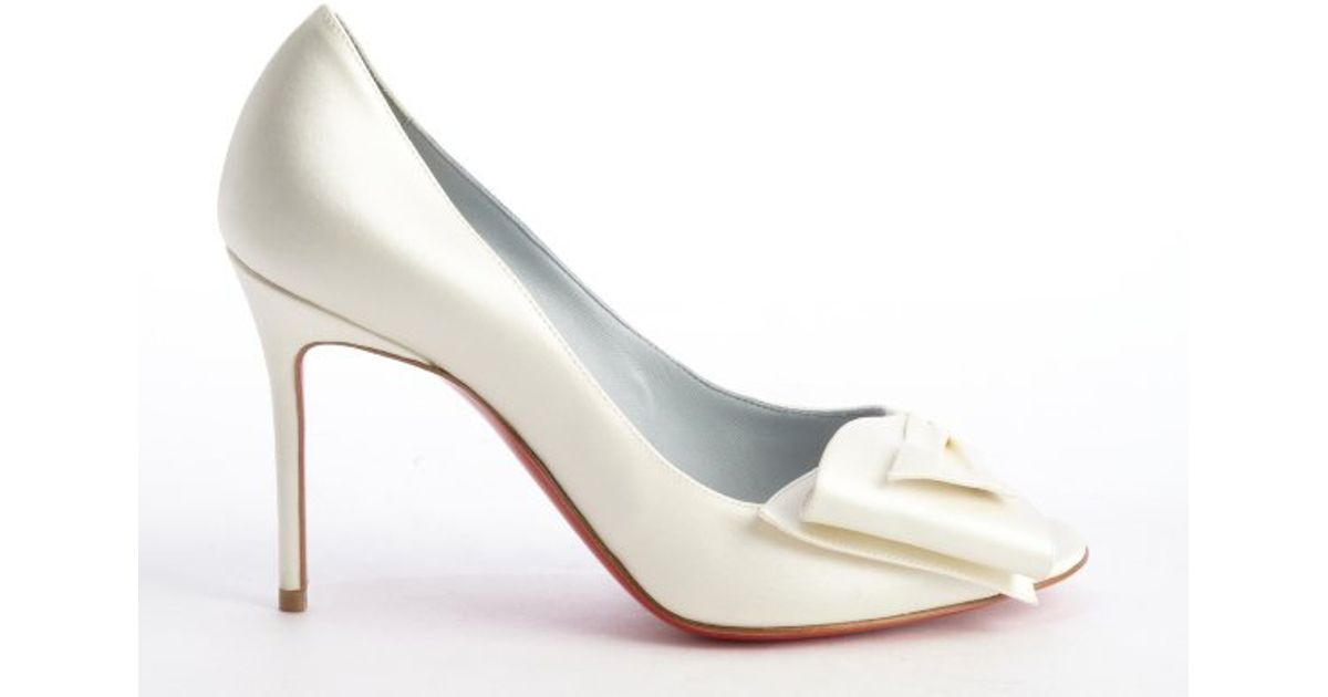 0825fe6c484 ... spain lyst christian louboutin ivory satin just soon 85 ribbon detail  peep toe pumps in white