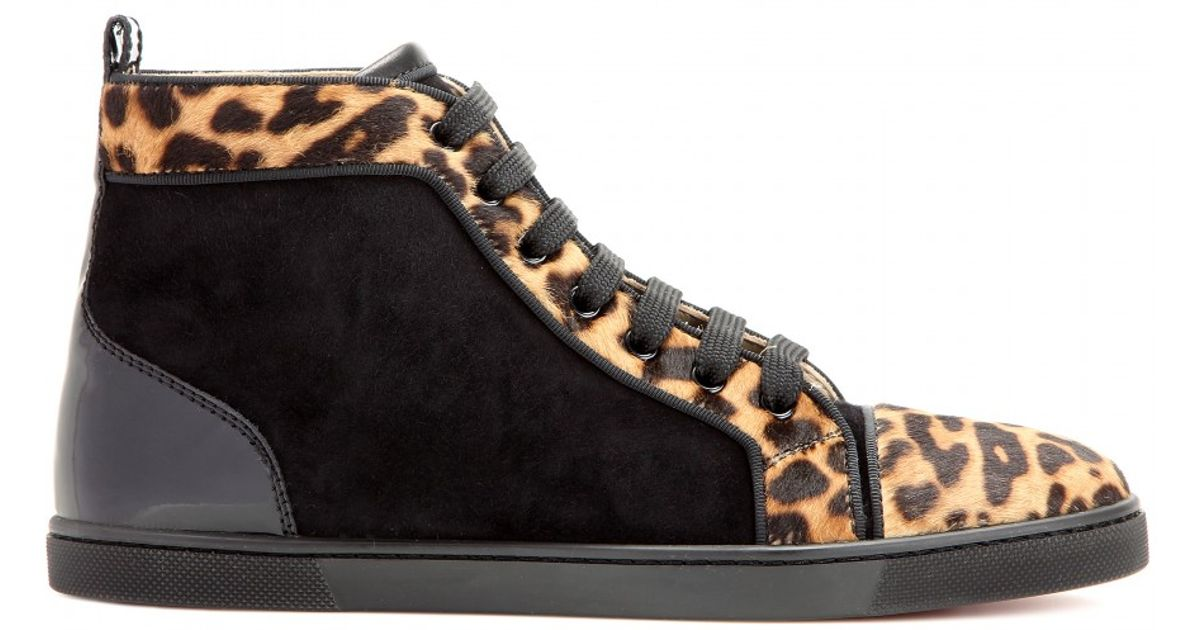 b54def0faaf1 Christian Louboutin Bip Bip Patent-Leather Suede and Pony Hair Sneakers in  Brown - Lyst