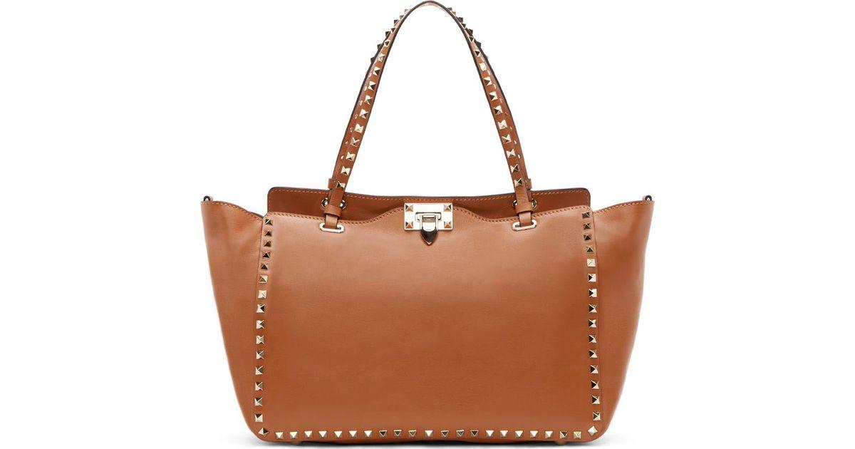 Valentino Cognac Leather Rockstud Medium Tote Bag in Brown | Lyst
