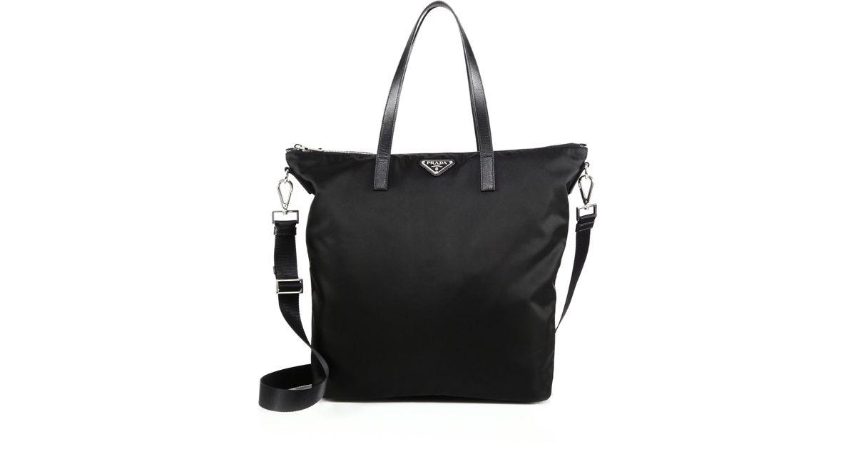 Prada Tote Laukku : Prada nylon leather zip tote in black lyst